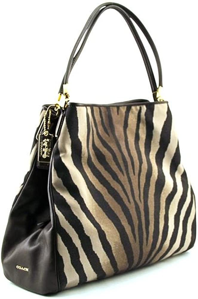 Coach Madison Zebra Print Small Phoebe Shoulder Bag 26636 Brown Multi