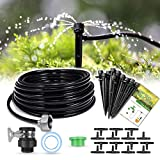 "HIRALIY 50ft Drip Irrigation Kits 1/4"" Blank Distribution Tubing Plant Watering System DIY Saving Water Automatic Irrigation Equipment Set for Patio Lawn Garden Greenhouse Flower Bed"