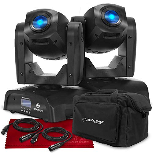 American Dj Roller - American DJ Pocket Pro - Compact LED Moving Head Light (Black) with Accessory Bundle