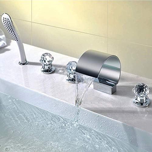 1yess Badewannenarmaturen, 5-Loch-Wasserfall Spout Badezimmer Wanne Filler-Hahn-Kristall-Handgriff mit Handbrausegarnitur, verchromt