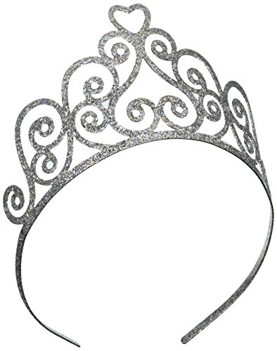 [Glittered Tiara (silver) Party Accessory  (1 count) (1/Pkg)] (Dance Central Halloween Costumes)