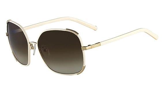 Amazon.com: Chloe 729 Gold Cream CE109SL Square Sunglasses ...