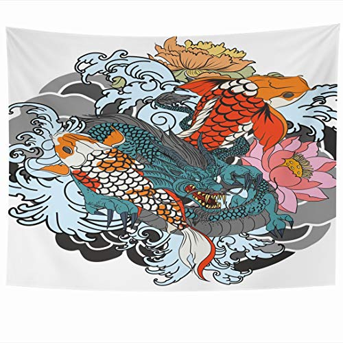 Ahawoso Tapestry 80 x 60 Inches Red Carp Dragon Koi Fish Flower Tattoo Wildlife Coloring Asian Black Design Drawn Wall Hanging Home Decor Tapestries for Living Room Bedroom Dorm