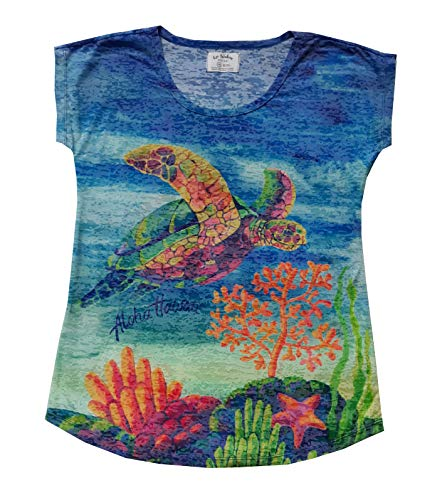 Women s Burnout Dolman Hawaiian Poly-Cotton Blend Casual Short Sleeve T-Shirt (X-Large, Coral Turtle) ()
