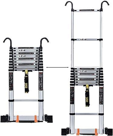 Erru Escalera Telescópica- Escalera Telescópica De Aluminio con Ruedas Y Ganchos, De 6 M 丨 19.7 Pies, Escalera Deslizante Telescópica Plegable Antideslizante Loft Home (Size : 6m/19.7ft): Amazon.es: Hogar