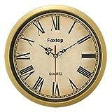 Foxtop 8 Inch Vintage Retro Small Wall Clock Time Decorative-Retro Gold Roman Numeral Wall Clocks
