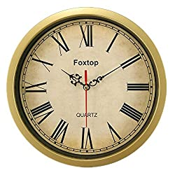 Foxtop 8 Inch Vintage Retro Small Wall Clock Time Decorative-Retro Roman Numeral Wall Clocks Gold