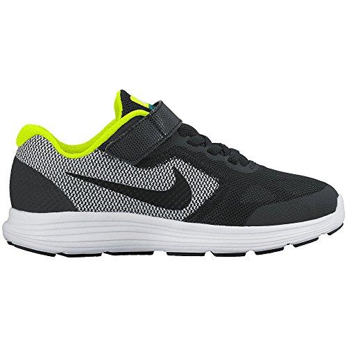 Boy's Nike Revolution 3 (PS) Pre-School Shoe Black/White/Volt Size 12 Kids US