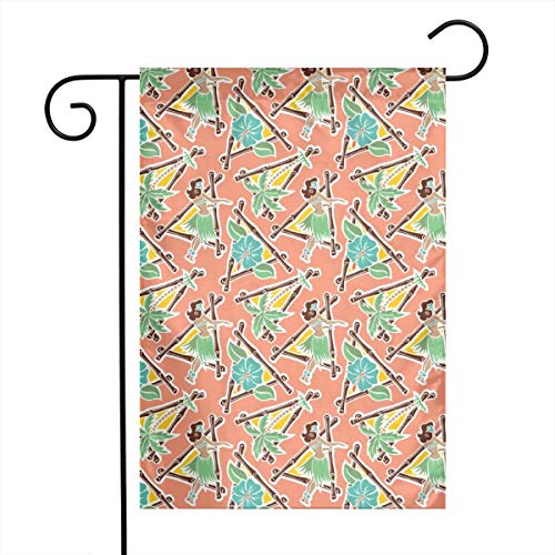 - Life shop Maui Pop - Hula Honey - Coral Art Garden Flag Yard Flag 12