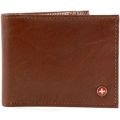 Alpine Swiss Men's Top Grain Leather Slimfold Wallet Distressed Brown