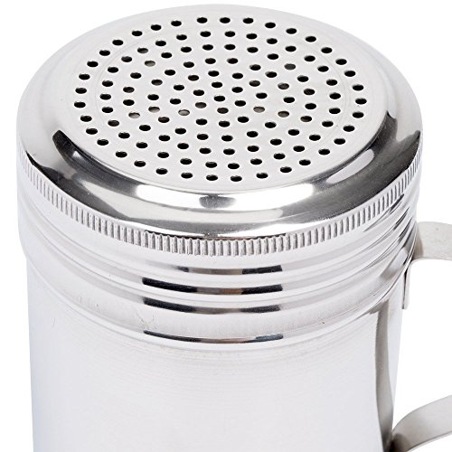 (Set of 12) 10 Oz Stainless Steel Dredge Shaker with Handle, Spice Dispenser for Cooking/Baking by Tezzorio by Tezzorio (Image #3)