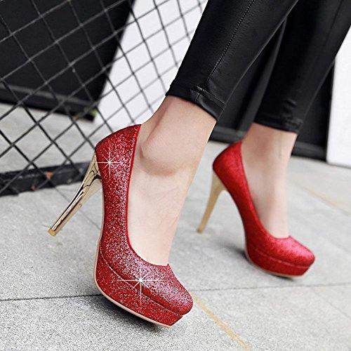 YE Damen Kitten Heels Spitze High Heels Ankle Strap Pumps mit 12cm Absatz Elegant Schuhe Rot