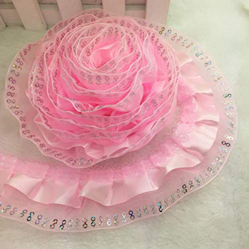 - New Hot 5 Yards 79 Models Pleated Trim Mesh Lace Sewing Sequin Gathered Pick (Style - LS14 45mm Wide)