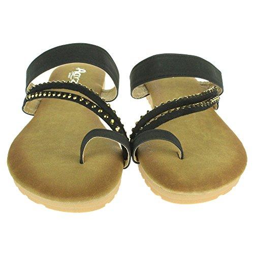 Mujer Señoras Dedo del pie Strappy Verano playa Casual Fiesta Punta abierta Comodidad Plano Sandalias Zapatos Tamaño Negro