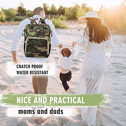 Diaper Bag for Men Dad Camo Nappy Bag Backpack Large Canvas Waterproof USB Mommy Bag for Baby Care Travel (Jungle Camouflage)
