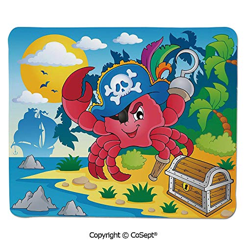"Mouse Pad,Cute Cartoon Crab with Eye Patch Pirate Hat Hook Pegleg Deserted Island Coast Jungle Decorative,Water-Resistant,Non-Slip Base,Ideal for Gaming (7.87"" x 9.44""),Multicolor"