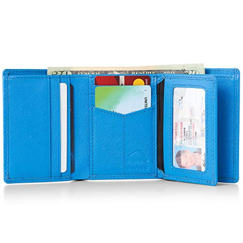 (Alpine Swiss RFID Mens Wallet Deluxe Capacity Trifold With Divided Bill Section Crosshatch Aqua)