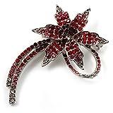 'Falling Star' Crystal Fashion Brooch (Pink, Red & Burgundy)