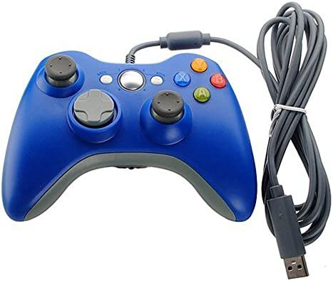 Xbox 360 Game Controller USB Wired Gamepad Game Joystick Joypad for Microsoft & Windows PC (Blue)