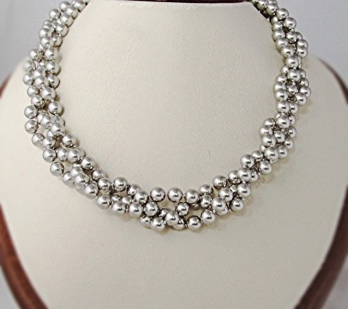 Everyday Bridal Jewelry (Silver Grey Chunky, Braided, Swarovski Elements, Crystal Simulated Pearl Necklace, 17 inches. Hand Knotted Bridal, Bridesmaid, Women's Fashion Jewelry. Choose Your)