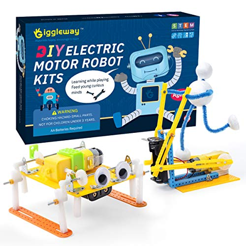 Giggleway Electric Motor Robotic Science Kits, DIY Kids Circuit Building Engineering STEM Toys, Science Project Experiment Kits for Kids- Walking Robot, Fitness Robot