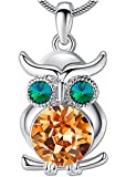 ANEWISH Jewelry Lifelike Owl Pendant Necklace for Women Girl Teen Lady with Crystals Unique Best Gift