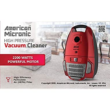 American Micronic- AMI-VCC-2200WDx-2200 Watts Imported Vacuum Cleaner with HEPA Filter and 100% Copper Motor 32KPa Suction (Red) 10