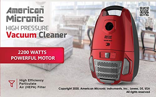 American Micronic- AMI-VCC-2200WDx-2200 Watts Imported Vacuum Cleaner with HEPA Filter and 100% Copper Motor 32KPa Suction (Red) 3