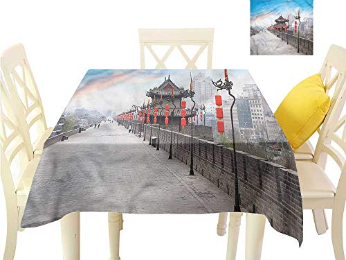 WilliamsDecor Dinning Table Covers Ancient China,Xian City at Dusk Jacquard Tablecloth W 60