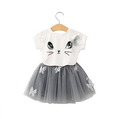 0b2282d51024b Oyedens Mode Robe Bebe Fille Ete Printemps Casual Chic Vetement Bebe Fille  Enfant Bébé Filles Chats