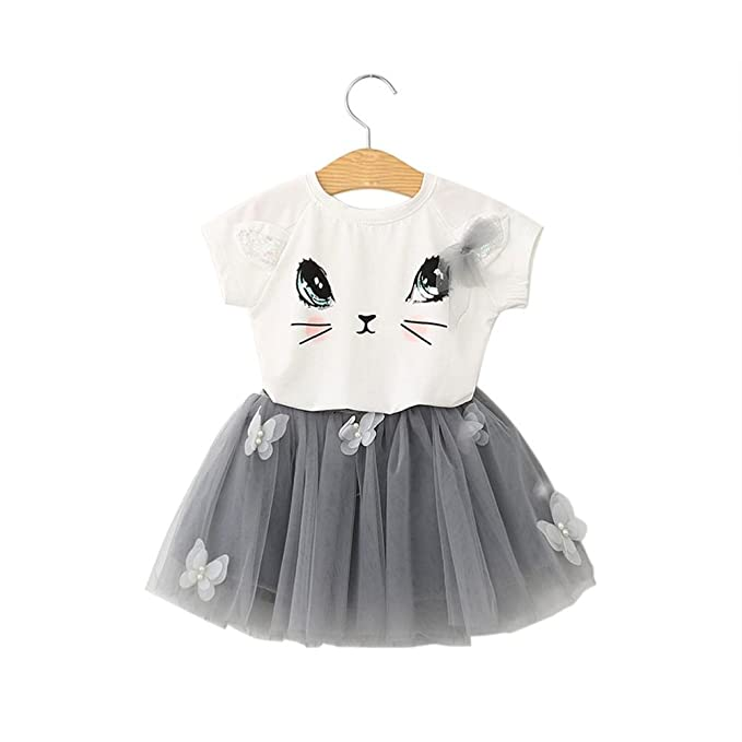 Amazon.com: Child Kids Girls Fashion Cat Pattern Shirt Top Butterfly Tutu Skirt Set Clothing 3-7T: Clothing