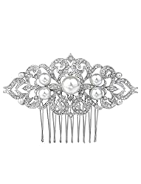 Ever Faith Silver-Tone Crystal Ivory Color Simulated Pearl Art Deco Wedding Hair Comb