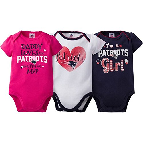 "NFL New England Patriots Girls ""Daddy Loves"" Bodysuit (3 Pack), 3-6 Months, Navy"