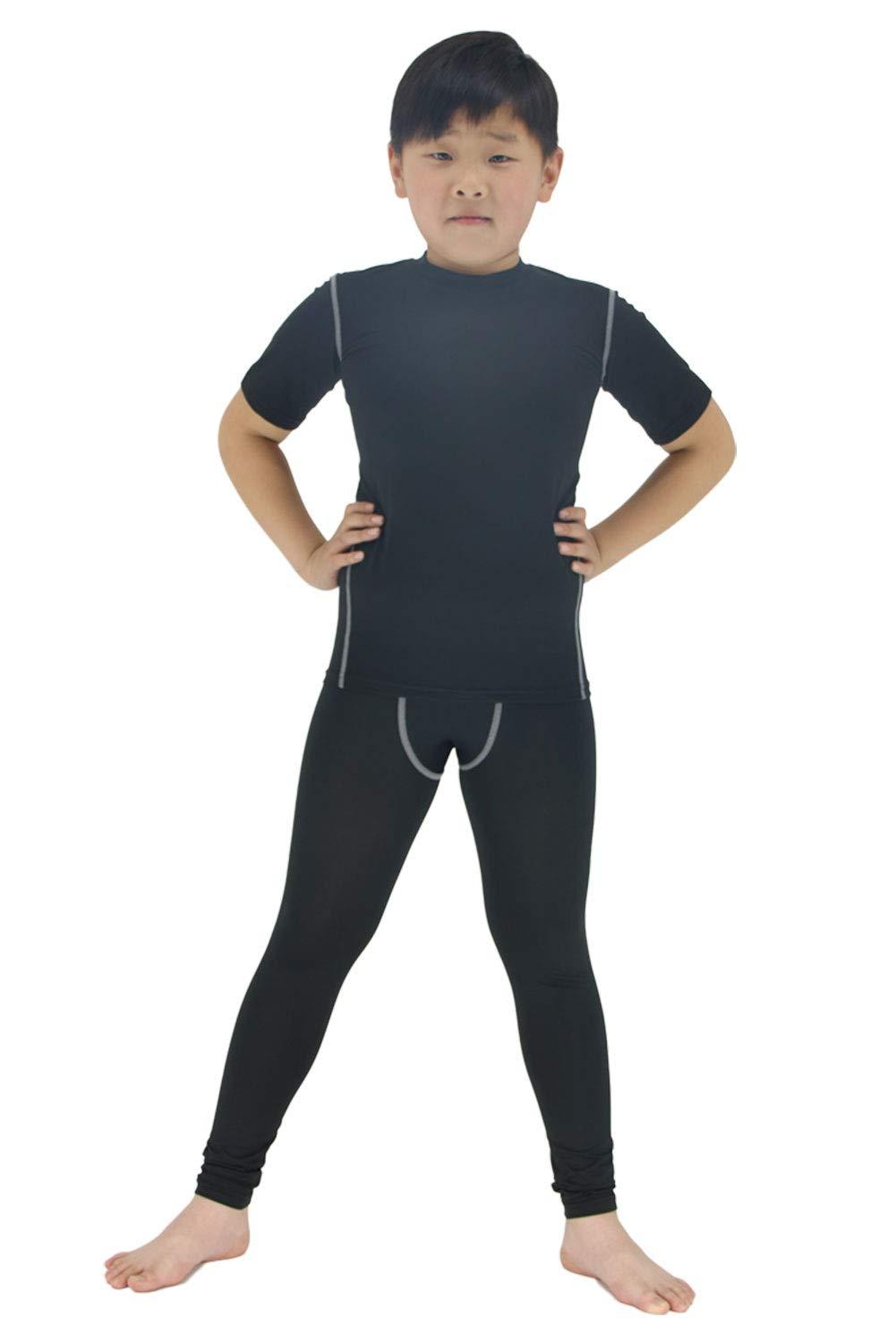 LANBAOSI Boys Girls Compression Soccer Tshirt Short Sleeve Long Pants Sports Set