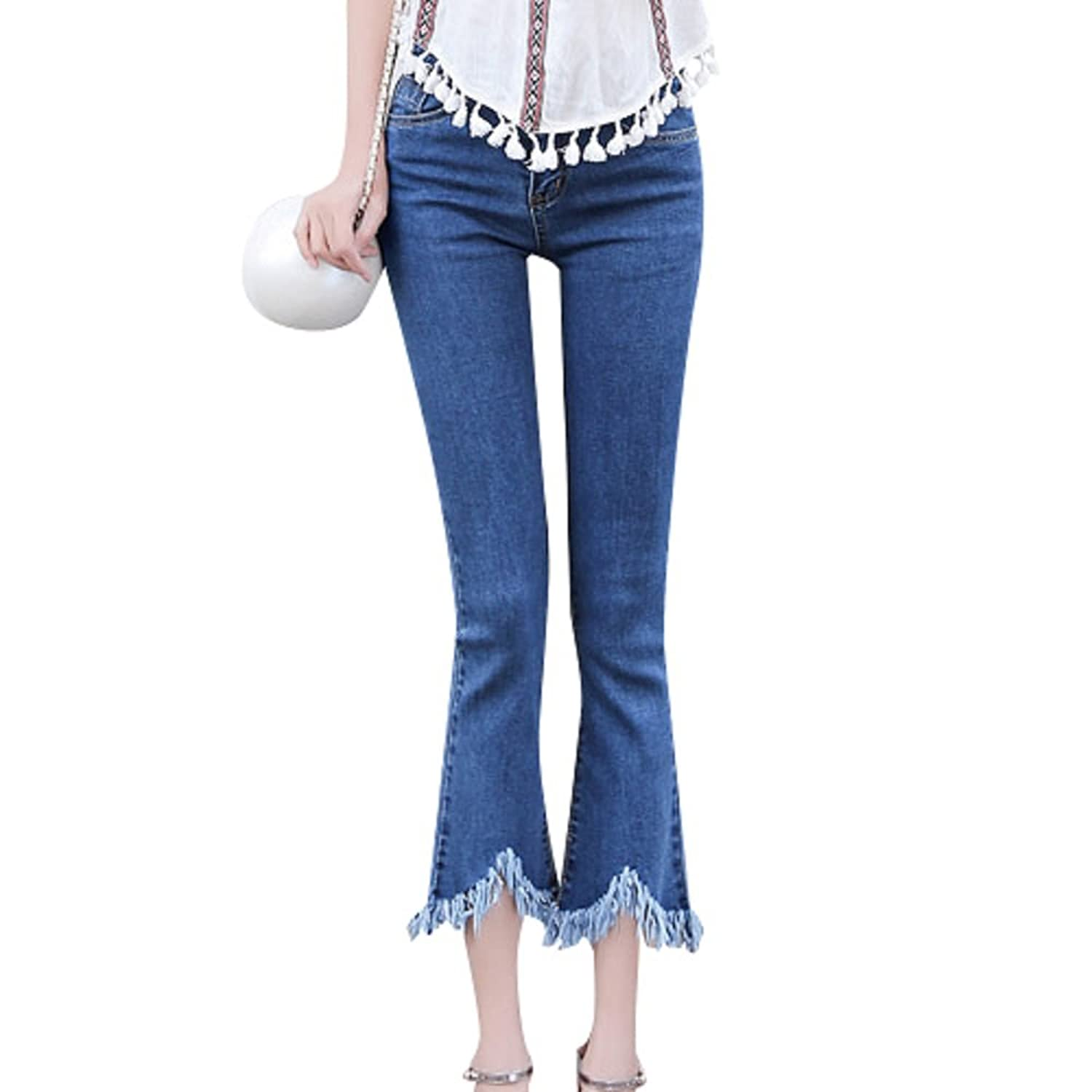 Better Smile Women Fashion Fringed Mid Wasit Flares Skinny Jeans