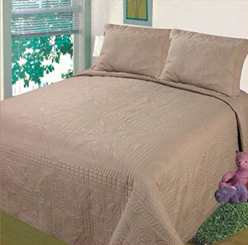 Fancy Collection Luxury 3pc Bedspread Bed Coverlet Solid Embossed Taupe New (King)