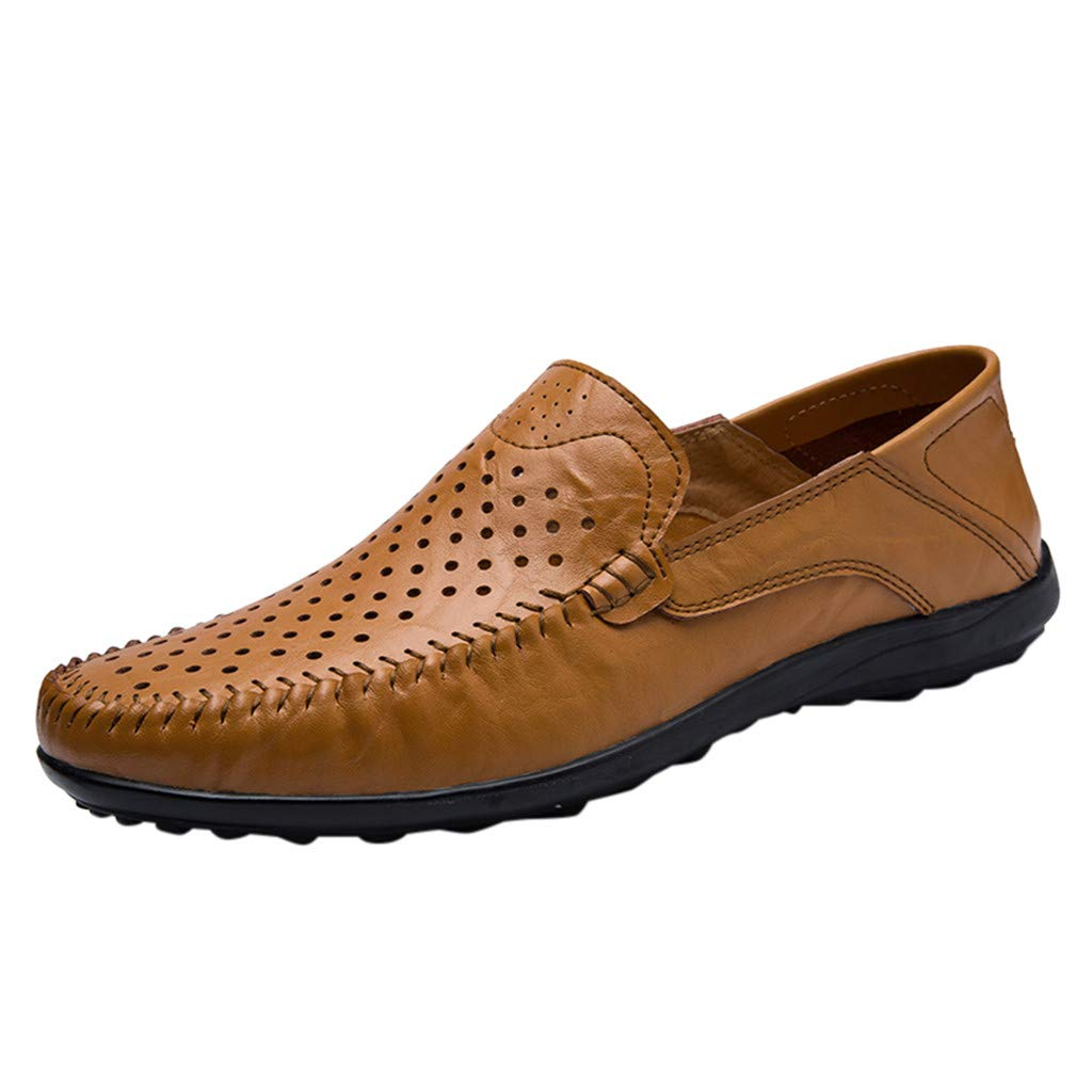 Men's Casual Business Oxford Leather Shoe Hollow Out Comfortable Driving Loafers Slip On Dress Shoes (US:9.5(44), Brown) by Dasuy
