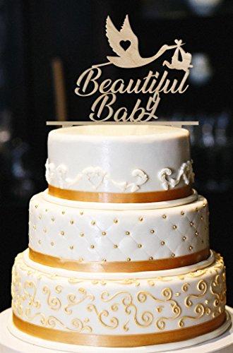 Beautiful Baby Cake Topper, Stork Cake Topper, Glitter Baby Shower Cake Topper, Glitter Gender Reveal Cake Topper, Glitter Baby Shower Decor (8
