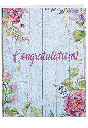 Congratulations Greeting Card 'Blooming Driftwood' with Envelope (Supersized 8.5 x 11 Inch) - Beautifully Colored Flower, Floral Driftwood Congratulatory and Celebration Card Stationery - Blooming Stationery