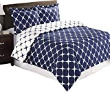Navy and White Bloomingdale 2-PC Twin / Twin XL Duvet Cover Set, 100% Cotton 300 TC