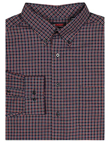 Roundtree & Yorke TravelSMART Men's Big & Tall Wrinkle Resistant Easy-Care Shirt (Ink Blue/Red, 3X Big)