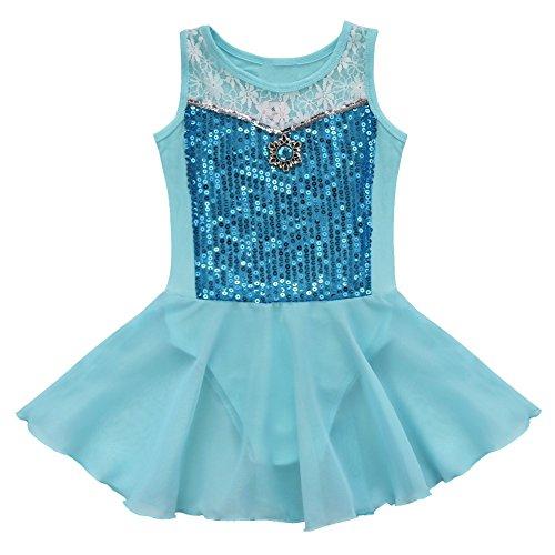 Agoky Girls Sequined Sleevless Ballet Dance Tutu Dress Leotard Costumes Blue 3 ()