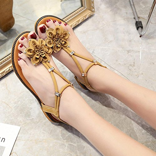 VEMOW 2018 Spring Summer Sandals for Teen Girls Fashion Women Flower Flat Flip Flops Flat Heel Anti Skidding Bohemian Beach Clip Toe Shoes Sandals Slipper Ladies Girls School Sport Party Club Dancer Brown kdCiZI