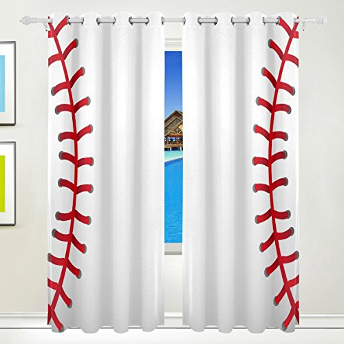 Bettken Baseball Texture Photo Custom Polyester Fabric Darkening Window Curtains for Living Room Decor Thermal Insulated Blackout Drapes with Grommet for Bedroom(2 Panel,H84 x W55 in)