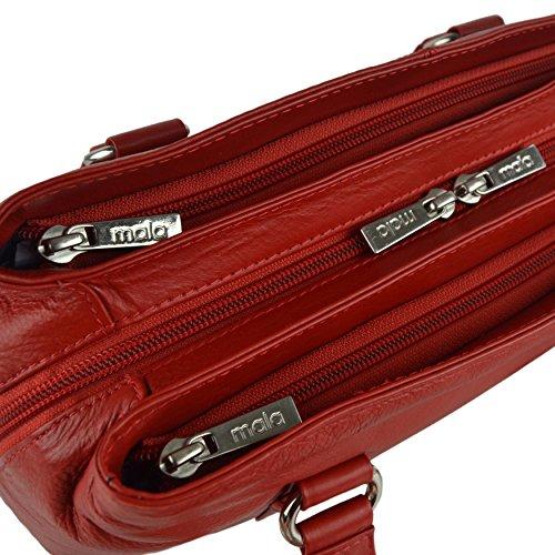 Mala Leather - Bolso al hombro para mujer Rojo morado rojo