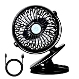 StillCool Silence USB Fan, Mini USB Desktop Fan Rotate to 720 ° Powerful and Silence for Stroller, Car, Camping, etc - Black