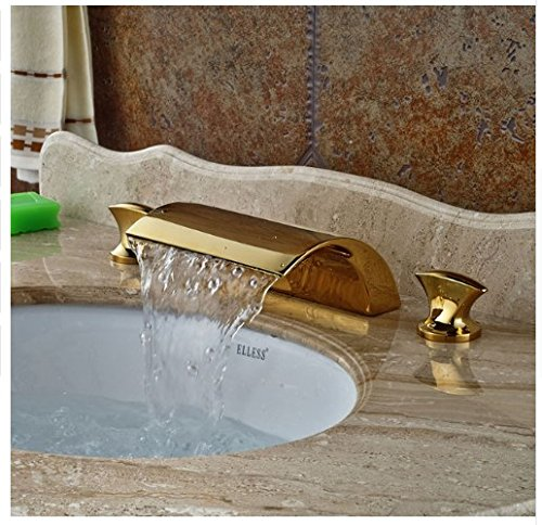 Gowe Deck Mounted Wide Waterfall Spout Bathtub Faucet Double Handles Mixer Tap ()