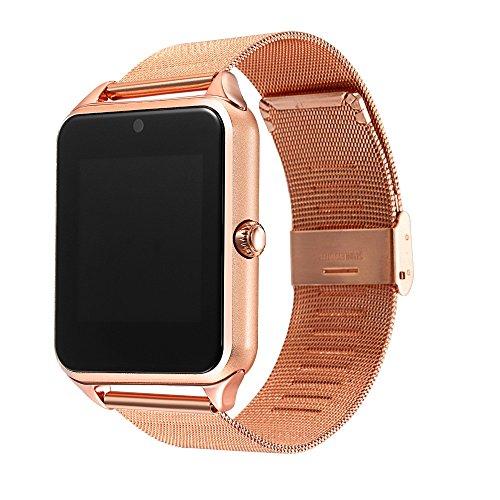 Z60 Smart Watch Steel Strap Men Women Bluetooth Wrist Smartwatch Support SIM/TF Card For Apple Android Phone PK DZ09 (gold) by YIMOHWANG