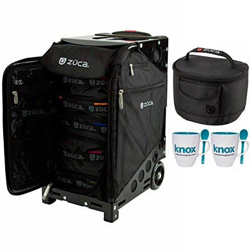 Zuca Pro Travel Case (Black / Black Frame) with Pouch Set and Built-In Seat, with Gift Lunchbox and Mug Set by ZUCA