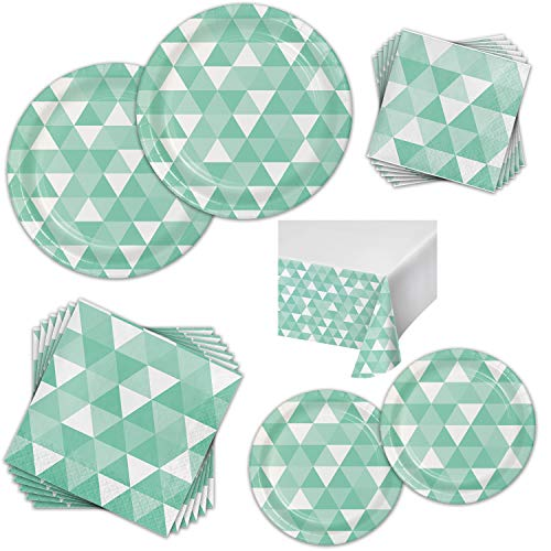 Colorful Fractal Dinnerware Bundle for 16 Guests - Great for Birthday Parties, Entertaining, and Everyday Celebrations - Kit Includes Paper Plates, Napkins, Plastic Table Cover (Fresh Mint)